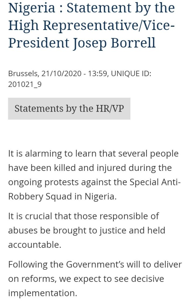 European Union releases statement on the shooting of unarmed End SARS protesters in Nigeria