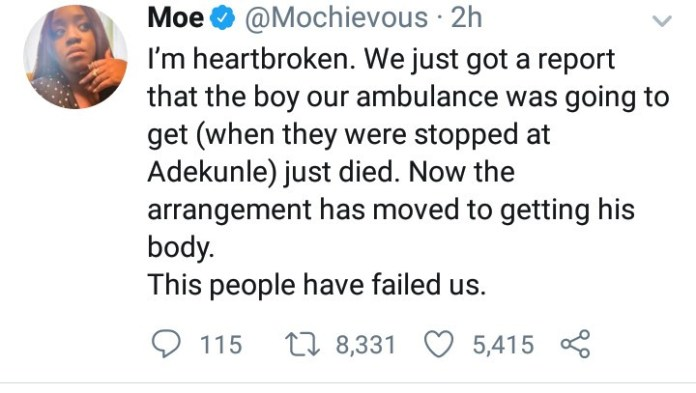 Another victim allegedly succumbs to his injuries after ambulance sent to pick him up was stopped at Adekunle, End SARS protest frontliner reveals