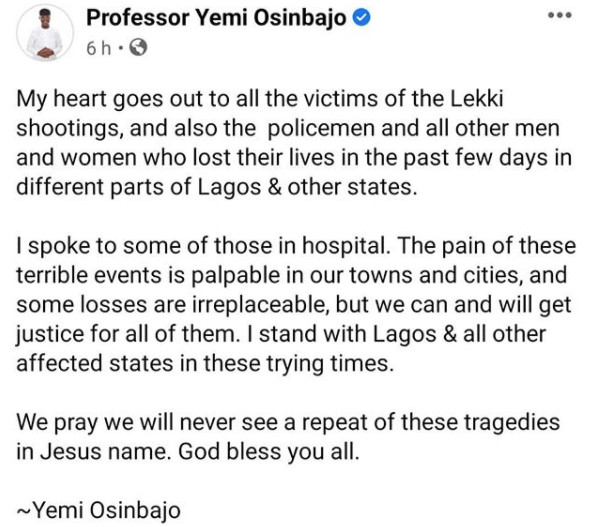 My heart goes out to all the victims of the Lekki shootings- VP Yemi Osinbajo