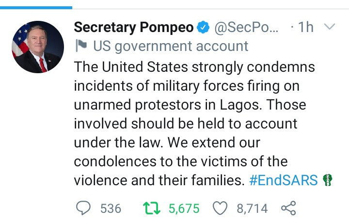 United States Government finally reacts to shootings of #EndSARS protesters by Nigerian military