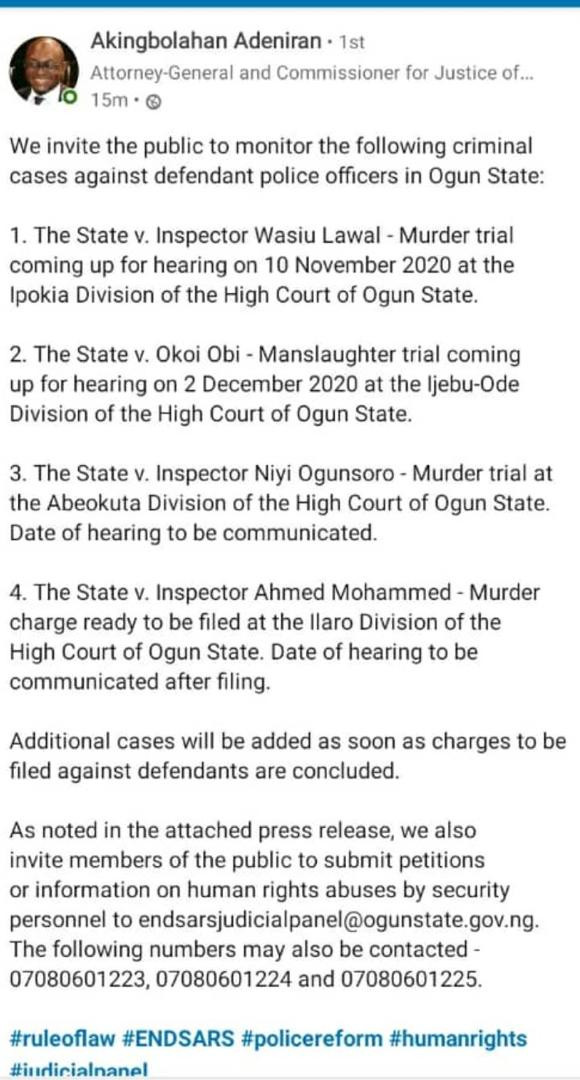 """""""Ogun is taking the lead"""" - Nigerians react as Ogun State invites the public to monitor criminal cases against defendant police officers"""