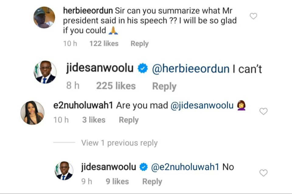 'I can't'' - Gov Sanwo-Olu replies IG user who asked him to summarize President Buhari's speech 1