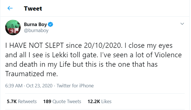 The Lekki toll gate gun attack has left me traumatized - Burna Boy ?