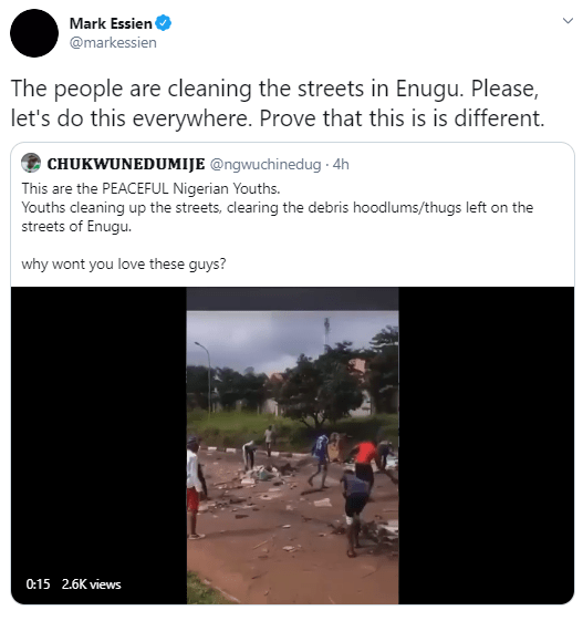 Enugu youths clean up their community after hoodlums left it in a mess (video)