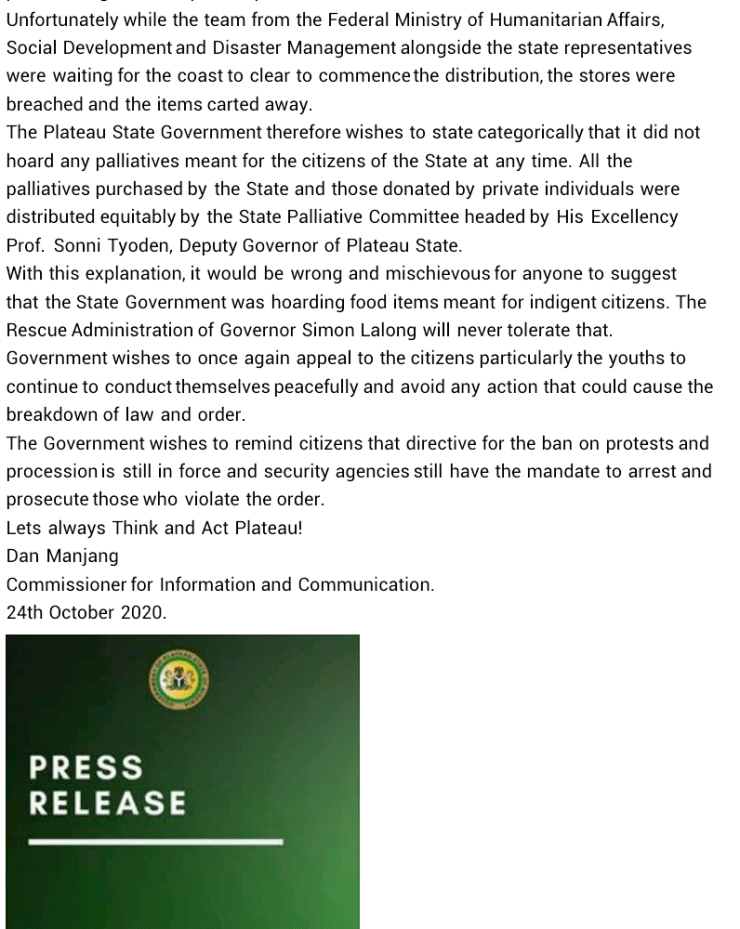 Plateau State Govt denies hoarding COVID-19 palliatives, says #EndSARS protests delayed distribution process