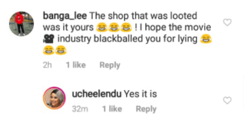 5f94765829734 Uche Elendu reacts after being accused of lying about her store being looted