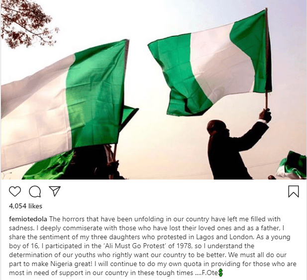 Femi Otedola commiserates with families who lost loved ones as he speaks on unrest in Nigeria