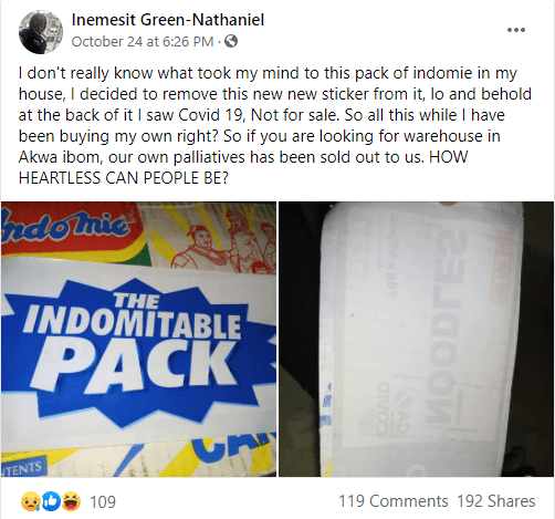Woman claims she peeled the sticker off her carton of noodles and discovered she has been buying COVID-19 palliative noodles in Akwa Ibom State