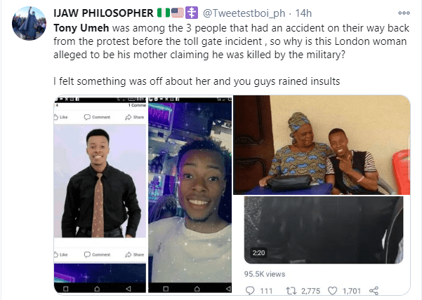 Nigerians counter woman?s claim of her son dying after the Lekki toll gate shooting