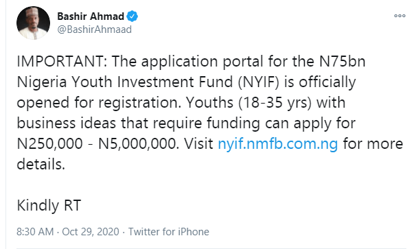 Application portal for the N75bn Nigeria Youth Investment Fund is officially opened for registration