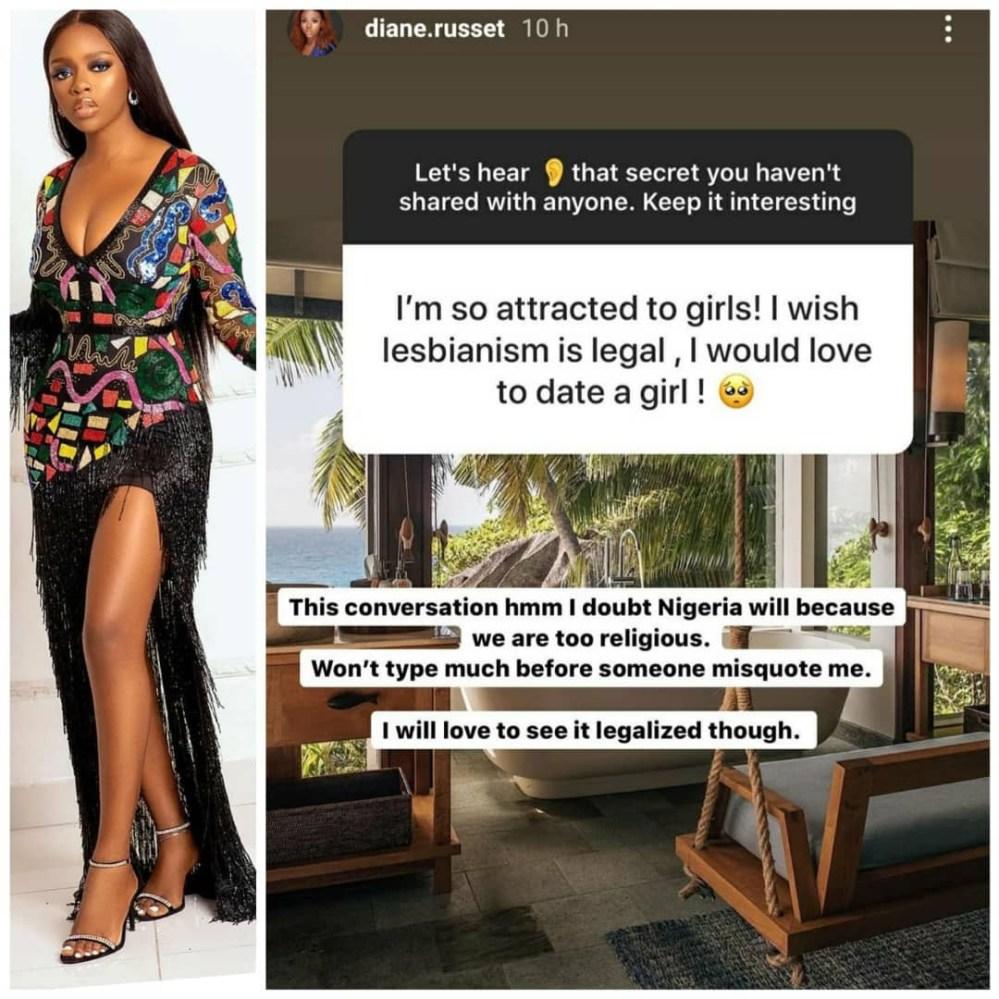 I will love to see lesbianism legalized in Nigeria - BBNaija star, Diane