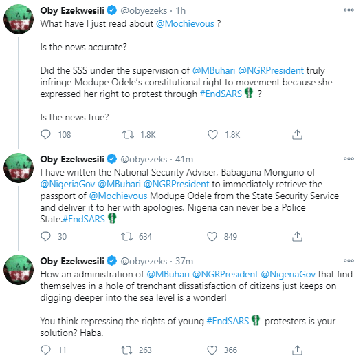Modupe Moe Odele #Endsars Frontliner Is Stopped From Leaving The Country And Her Passport Seized; Oby Ezekwesili, Lala Akindoju And Others React ( #Freemoesexy )