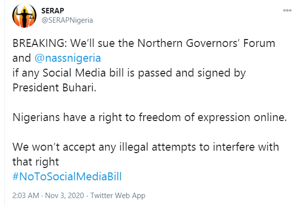 SERAP threatens to sue Northern Governors and NASS over social media bill