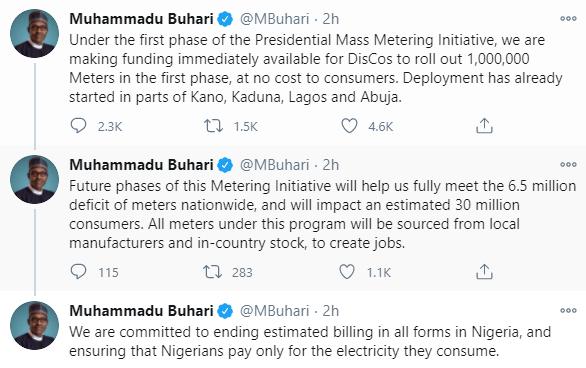 We?re ending estimated electricity billing ? President Buhari