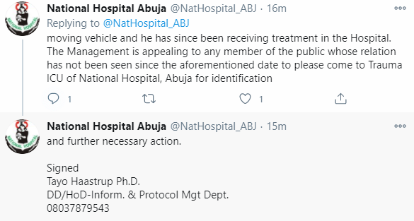 National Hospital Abuja in search of relatives of man brought into the hospital unconscious