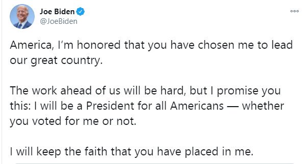 """Joe Biden reacts to his election as the 46th President of the United States, changes Twitter bio to """"President-Elect"""""""