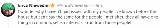 5faa37820f6d9 BBNajia star, Erica Nlewedim rants on Twitter