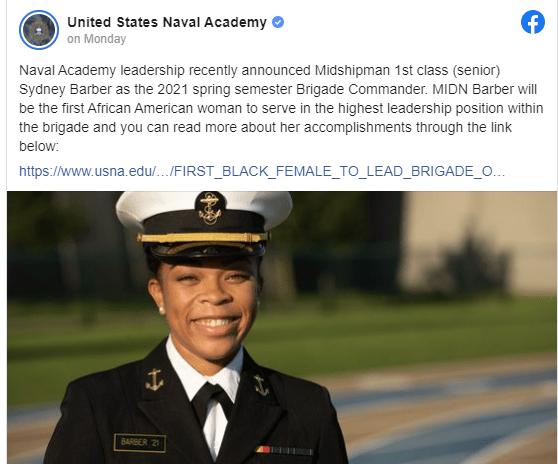 US Naval Academy names first Black female brigade commander
