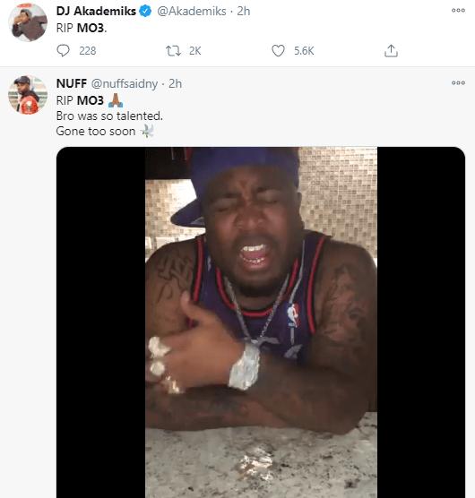 US rapper, Mo3 shot dead in Dallas