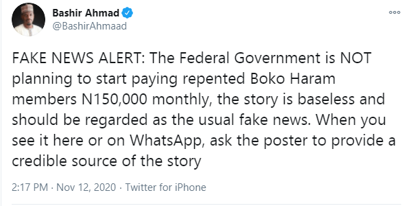 Presidential aide, Bashir Ahmad debunks claims of FG planning a N150k monthly payment to repentant Boko Haram members
