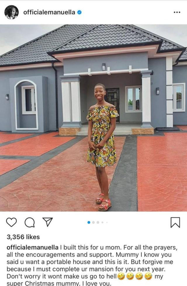 Kid comédienne, Emmanuella dévoile la nouvelle maison qu'elle a construite pour sa maman (photos)