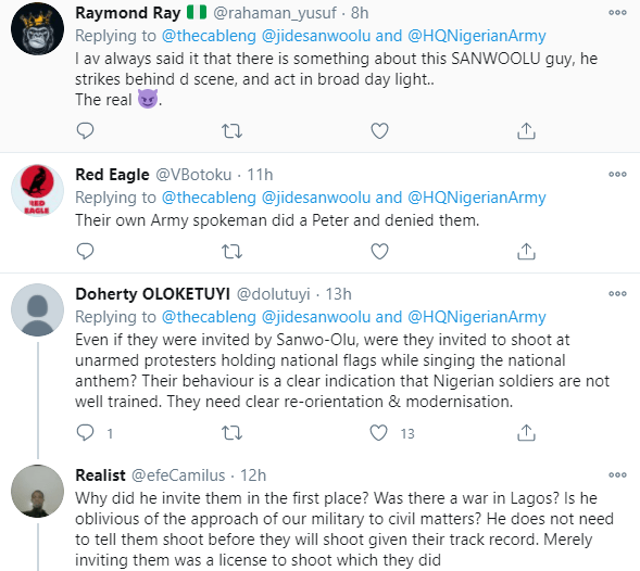 Nigerians react after Nigerian Army said they are not happy Gov Sanwo-Olu denied inviting them to the Lekki tollgate