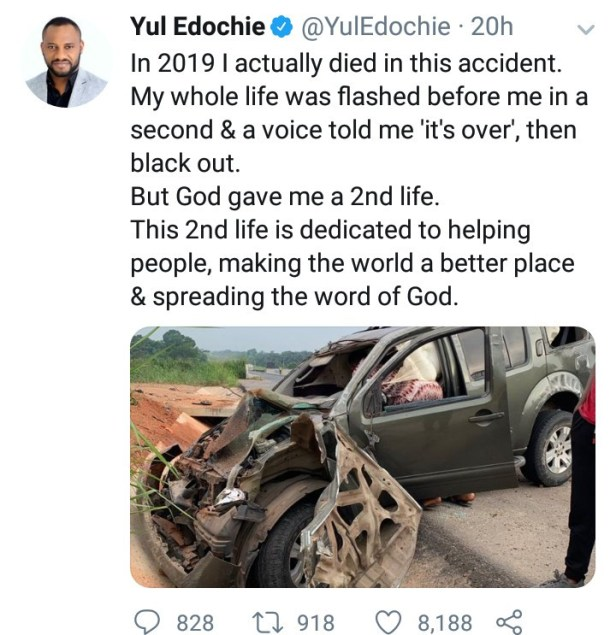"""""""In 2019, I died"""" - Yul Edochie narrates how God gave him a """"second life"""" after he was involved in an accident"""