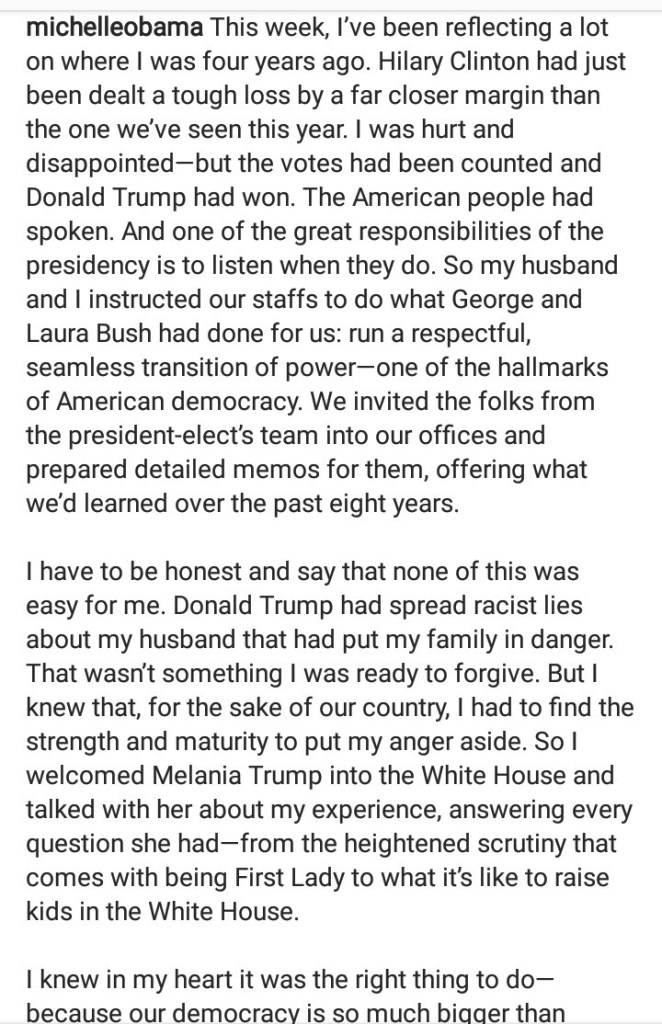 Michelle Obama condemns Trump for refusing to respect the electoral process as she reflects on how she helped the Trump
