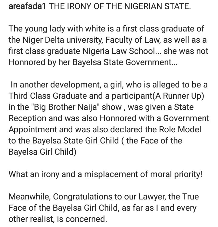 """Misplacement of moral priority!"" Charly Boy condemns Bayelsa state governor for making Nengi an adviser while overlooking a first class graduate of the state"