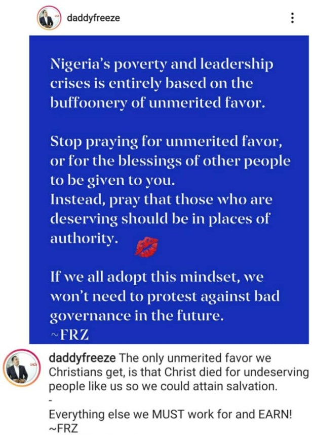 Stop praying for unmerited favor - OAP Freeze tells Nigerian Christians