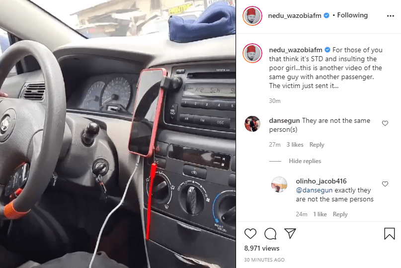 """Media personality, Nedu shares another video of """"same IN driver"""" masturbating in another trip with a different passenger (video)"""