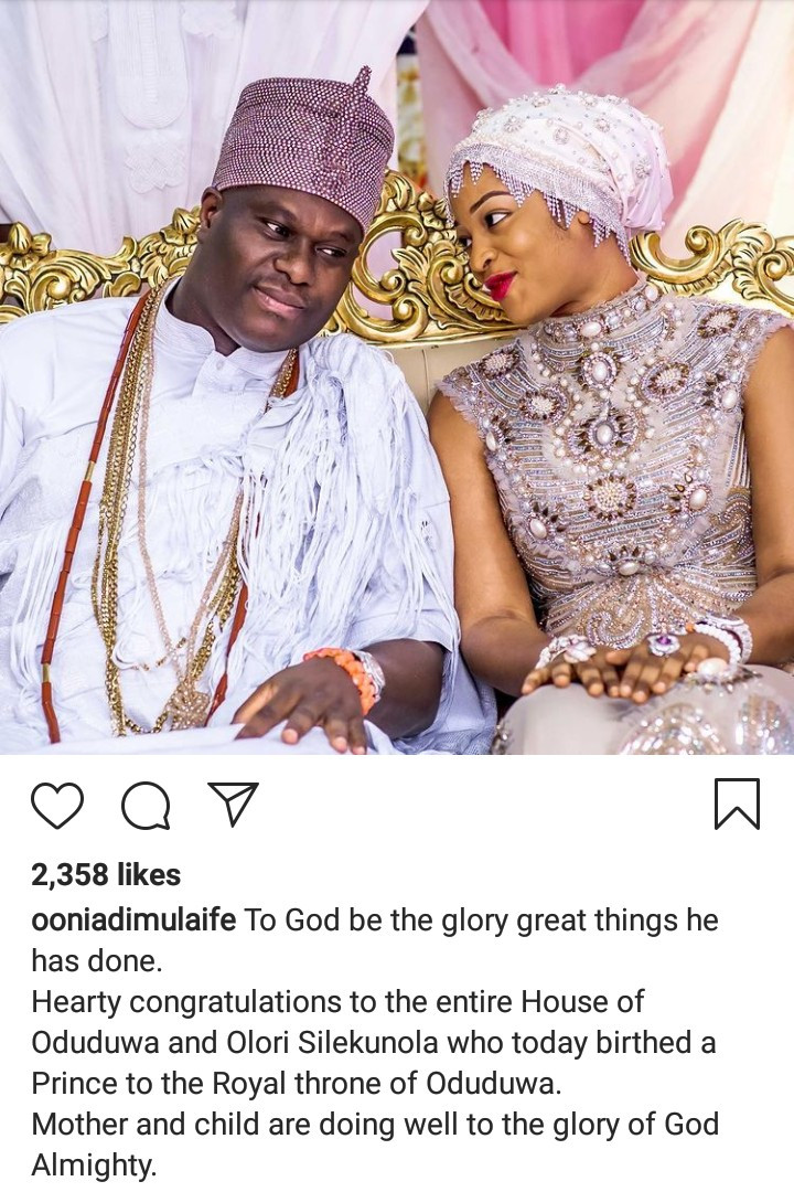 Ooni of Ife and his wife welcome a son