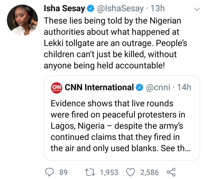 """Isha Sesay accuses the Nigerian government of telling """"lies"""" about the shootings at the Lekki tollgate"""