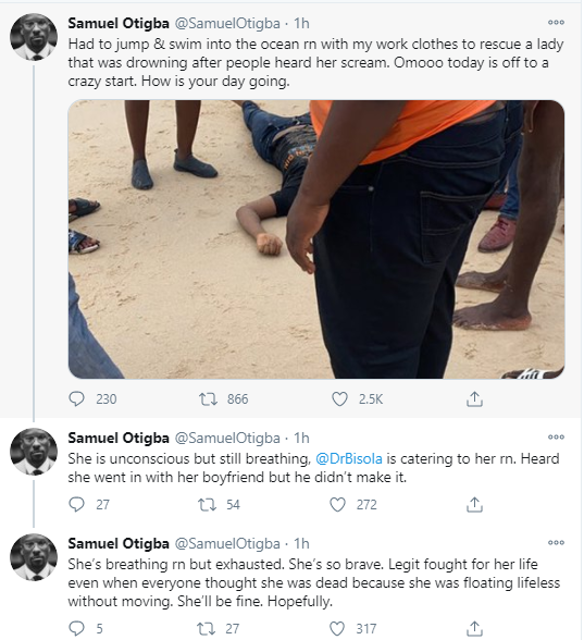 Nigerian woman rescued from drowning by brave passersby but her boyfriend is not so lucky