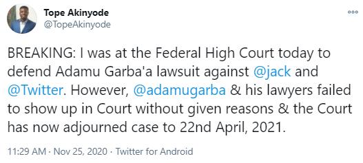 Procès Twitter Adamu Garba