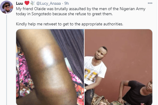 Nigerian Army officials allegedly assault lady because she refused to greet them (video)