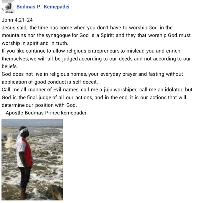 """""""Call me evil names, idolator, juju worshipper, God is the final judge of all our actions"""" - Says Nigerian man who publicly denounced Christianity"""