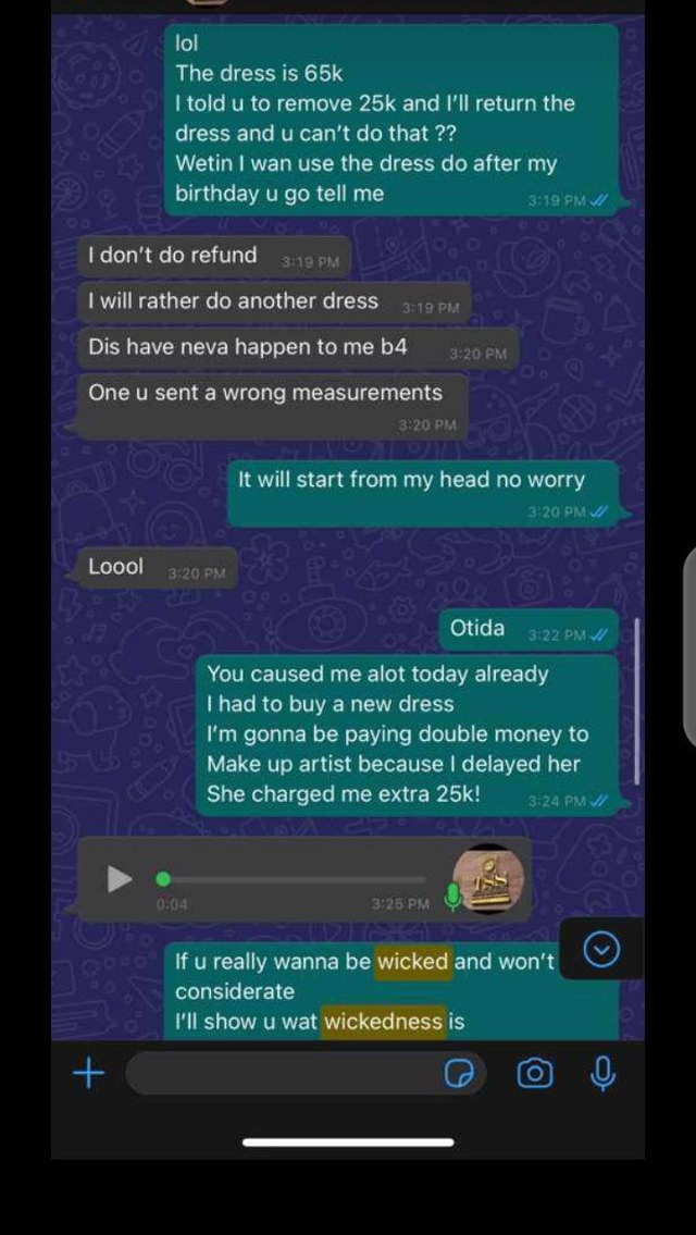 Disappointed customer shows dress she ordered and what her tailor made