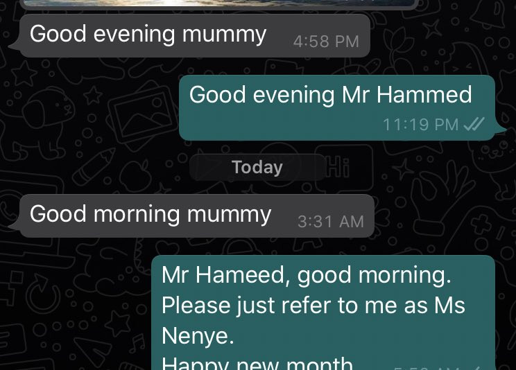 Woman reveals chat with her staff after she told him to stop calling her