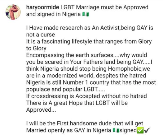 I will be the first man to openly get married as a gay in Nigeria- chef Ayo declares