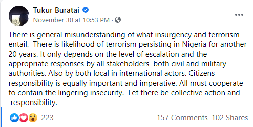 There is likelihood of terrorism persisting in Nigeria for another 20 years - Tukur Buratai