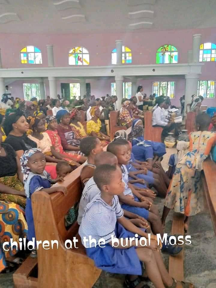 Photos from the burial of three children found dead inside a car in Enugu