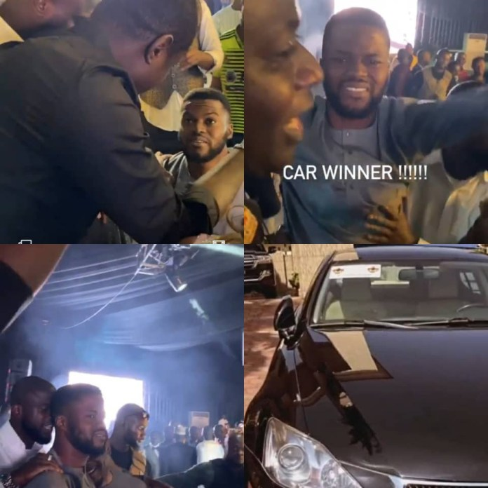Wedding guest goes on his knees after winning Lexus car at luxury designer, Malivelihood