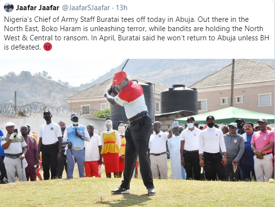 Nigerians attack chief of Army staff, Tukur Buratai, for going to play golf despite worsening insecurity (photo)