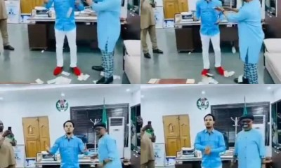 Nigerians react to viral video of Abia state governor's Chief of Staff, Anthony Agbazuere, spraying Naira notes on Odumeje Indaboski in his office