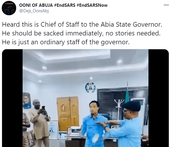 video of Abia state governor's Chief of Staff spraying Naira notes on Odumeje Indaboski, Nigerians react to viral video of Abia state governor's Chief of Staff, Anthony Agbazuere, spraying Naira notes on Odumeje Indaboski in his office, Premium News24