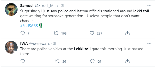 Police and soldiers allegedly take over Lekki toll gate ahead of fresh #EndSARS protest
