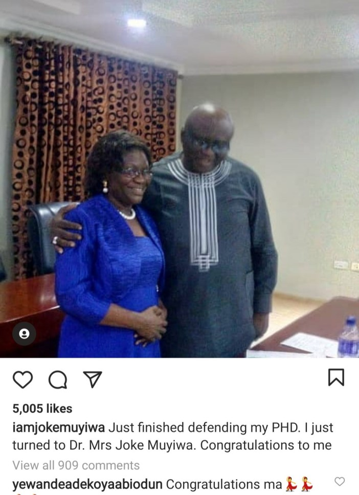 Nollywood actress Joke Muyiwa celebrates as she bags PhD