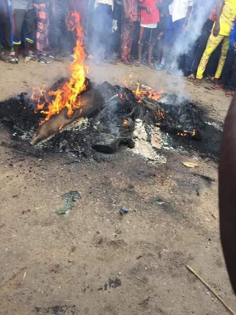 Two suspected female kidnappers set ablaze by angry mob in Osun (graphic photos)