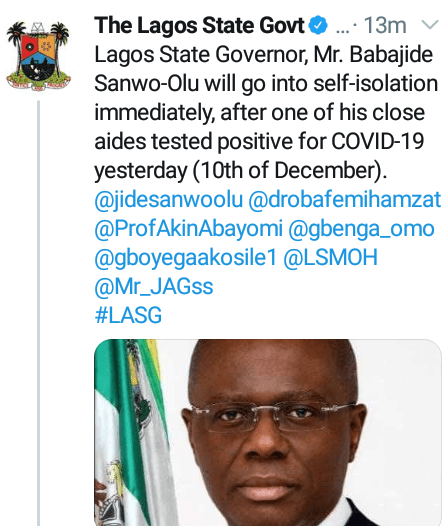 Governor Sanwo-Olu goes into self-isolation as close aide tests positive for COVID-19